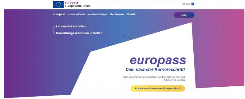 zeigt Einstiegsmaske zum Europass
